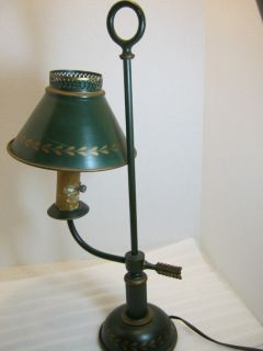 Vintage Green Antique Gold Painted Tin Tole Student Lamp Working