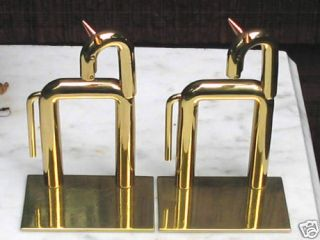 Antique Industrial Art Deco Chase Brass Copper Horse Bookends Von