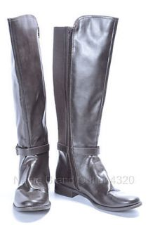 Anne Klein 8 M Brown Faux Leather Carlene Knee High Riding Boot Shoe $