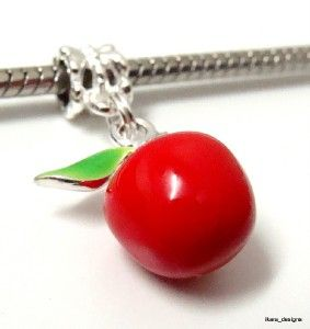 red enamel 3d apple charm dangle fit pandora