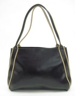 Arcadia Black Leather Tan Trim Bowling Shoulder Handbag