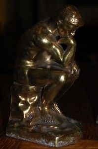 Antique Vintage Art Deco Brass Metal The Thinker Thinking Man Bookends