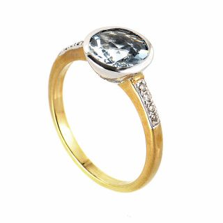 10K Yellow White Gold Diamond Aquamarine Ring