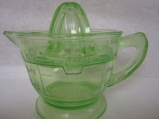 Antique Green Depression Glass Jiucer Reamer With Measuring Cup