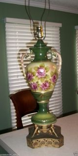 ANTIQUE TABLE LAMP CERAMIC FLORALSIGNED BY ARTIST BRASS BASE