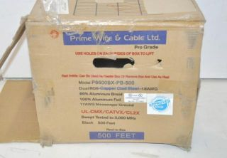 PRIME WIRE & CABLE DUAL RG6 COPPER CLAD STEEL 18AWG COAXIAL CABLE
