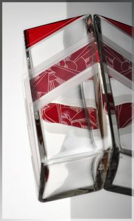 Stunning 1930s Bohemian ART DECO Red Cut Glass VASE by Karel Palda