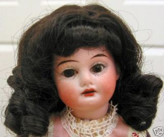 Maree Claire Dark Brown Doll Wig Size 7 8 Long Curls Bangs for Small