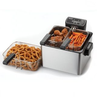 Aroma ADF 232 Smart Fry XL 4 Quart Digital Dual Basket Deep Fryer New