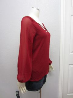 Love Audrey 3 1 Wine Chiffon Low V Cut Back Sexy Long Sleeves Top Sz s