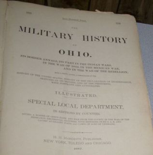Very RARE Antique Ohio Book Civil War Ashtabula County Oh Edition