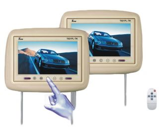 T721PLTAN 7 Dual Tan Headrest Widescreen TFT LCD Car Monitors