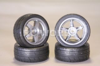 RC 1 10 Tamiya Car Tires Wheels Rims Package Black Racing Slicks