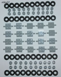 LEGO Lot of 100 Car Parts (Wheels Tires Axles Rims Bulk Truck Pieces