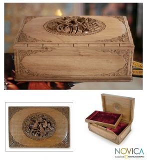 Song Birds in Spring Artist Hand Carved Walnut Wood Jewelry Box India