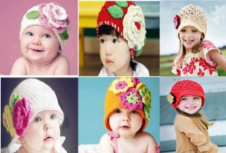 Lovely Newborn Baby Child Girl Boy Flower Hat Beanie Cap New