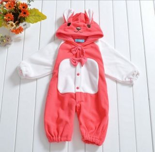 Infant Baby Girls Outfit One Piece Bodysuit Rabbit Fleece Costume