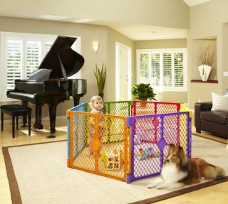 north states color superyard baby pet gate portable play yard 8 panel