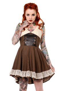 Banned Steampunk Brown Black Striped Lace Trim Key Faux Leather Dress