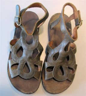 FIORENTINI BAKER Moss Green Leather Ankle Strap Sandle NEW 35