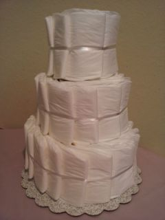 Undecorated 3 tier diaper cake baby shower decoration/centerpiece