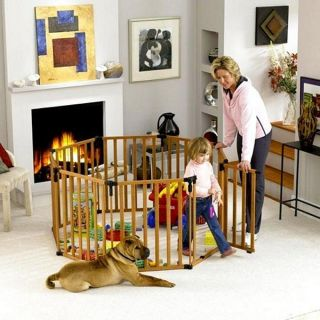 North States Superyard Wood Baby Pet Gate Play Yard