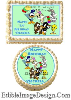 Baby Looney Tunes Birthday Edible Party Cake Image Cupcake Topper