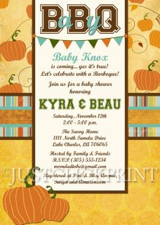 Fall Autumn Pumpkin BBQ Baby Shower or Sprinkle Invitation