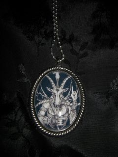 Baphomet Heavy Metal Horns 30x40mm Glass Cabachon Necklace