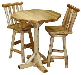 Pub Table Chairs Set High Bar Breakfast Cabin Lodge Furniture