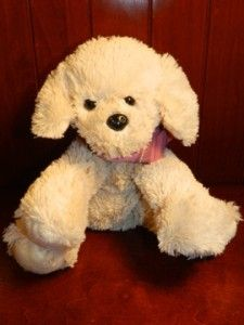 Dress Barn White Puppy Dog Pink Scarf Plush Stuffed Animal Dress Barn