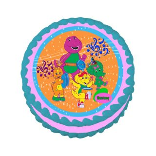 Personalizable Barney Theme Edible Cake Topper Image