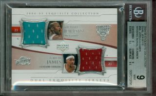 2004 Exquisite Dual Jerseys Michael Jordan Lebron James Game Used BGS