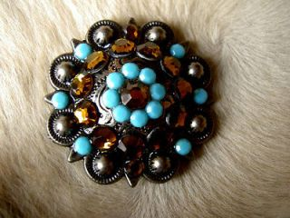 BERRY CRYSTALS BLING CONCHOS HORSE SADDLE HEADSTALL TURQUOISE TOPAZ