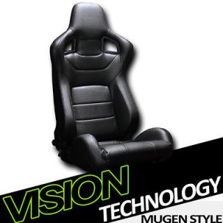1x Version 3 MU Type JDM Black PVC Leather Reclinable Racing Seat