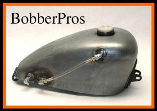 GAS TANK w/ FUEL SIGHT STEEL ENDS Bobber Chopper Sportster Harley