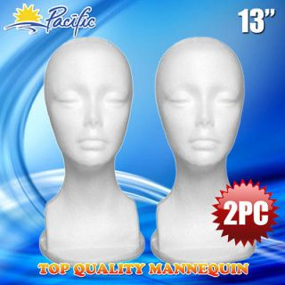 2PC 13 STYROFOAM FOAM MANNEQUIN MANIKIN head display wig hat glasses