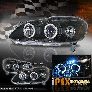 JDM BLACK 2003 2008 TOYOTA COROLLA DUAL HALO+LED LIGHTS PROJECTOR