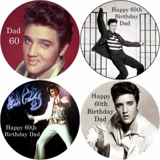 ELVIS PRESLEY / PERSONALISED ROUND EDIBLE ICING SHEET CAKE TOPPERS