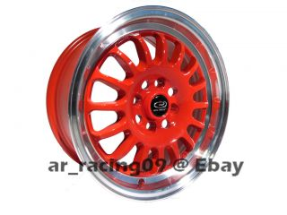 15 ROTA RIMS TRACK R RED 4x100 +40 88 90 91 92 95 CIVIC INTEGRA CRX