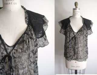 PHILLIP LIM Sheer Silk Printed Lace Cap Sleeve Blouse Top EUC 0