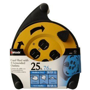 Woods Heavy Duty Electric 25 Foot Reel 4 Outlet Circuit Breaker
