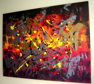 ART ABSTRACT MODERN LARGE ACRYLIC PAINTING Eugenia Abramson