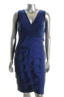 Adrianna Papell New Blue Shutter Pleat Cocktail Evening Dress Plus 22W