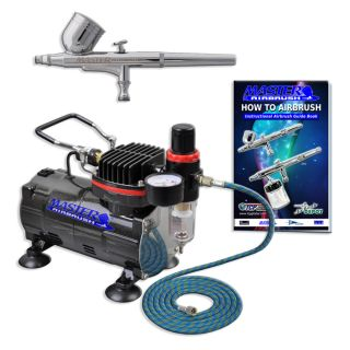 Gravity Dual Action Airbrush Kit Set Air Compressor Spray Auto Paint