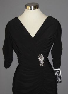 Alex Evenings Black Jersey Knit Ruched Draped Rhinestone Brooch