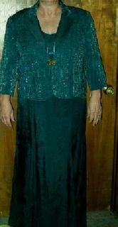 Alex Evenings Teal Formal Full Length Dress & Jacket Plus Size 18W NWT