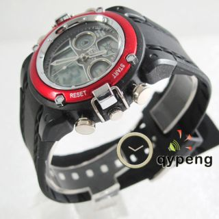 OHSEN Red sports Mens boy watch Analog DIGITAL Chronograph Dual led