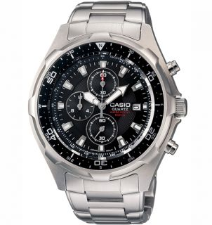 Casio Mens Analog Chronograph Watch with White Black Dial