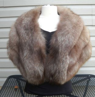 BEAUTIFUL REAL FUR AMBER FOX STOLE BY BARBATSULY SIDERIS LONG ISLAND